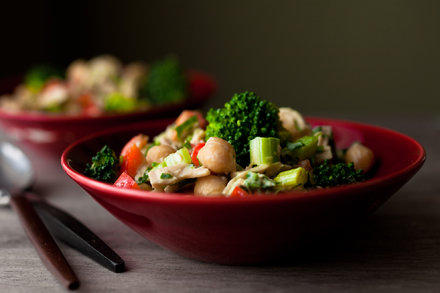 tuna, chickpea and broccoli salad